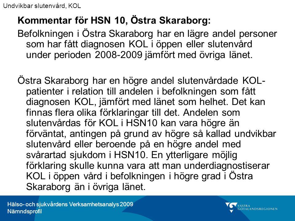 Hälso- och sjukvårdens Verksamhetsanalys 2009 Nämndsprofil Kommentar för HSN 10, Östra Skaraborg: Befolkningen i Östra Skaraborg har en lägre andel personer som har fått diagnosen KOL i öppen eller slutenvård under perioden 2008-2009 jämfört med övriga länet.