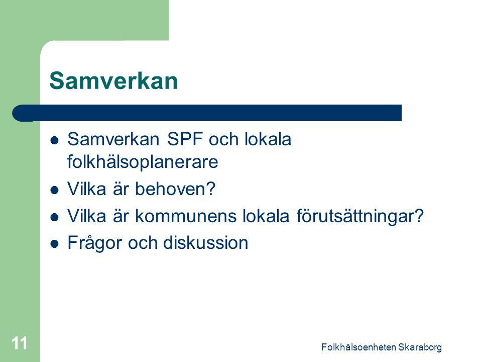 Folkhälsoenheten Skaraborg 11 Samverkan Samverkan SPF och lokala folkhälsoplanerare Vilka är behoven.