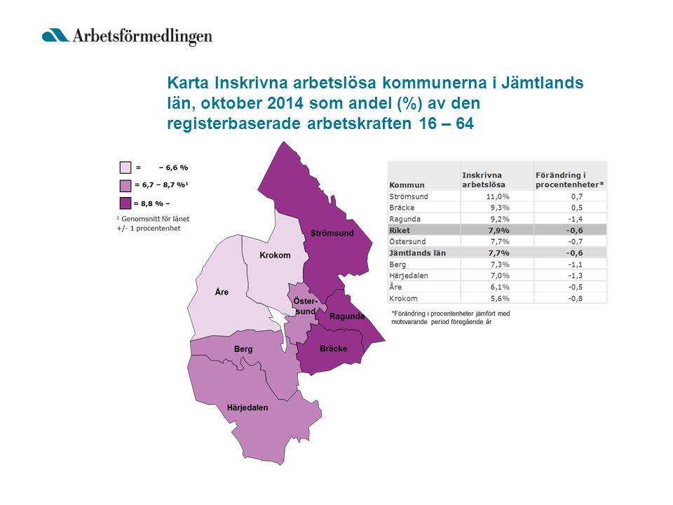 Karta Inskrivna arbetslösa kommunerna i Jämtlands län, oktober 2014 som andel (%) av den registerbaserade arbetskraften 16 – 64