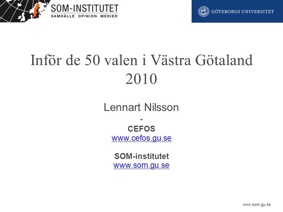 www.som.gu.se Inför de 50 valen i Västra Götaland 2010 Lennart Nilsson - CEFOS www.cefos.gu.se SOM-institutet www.som.gu.se