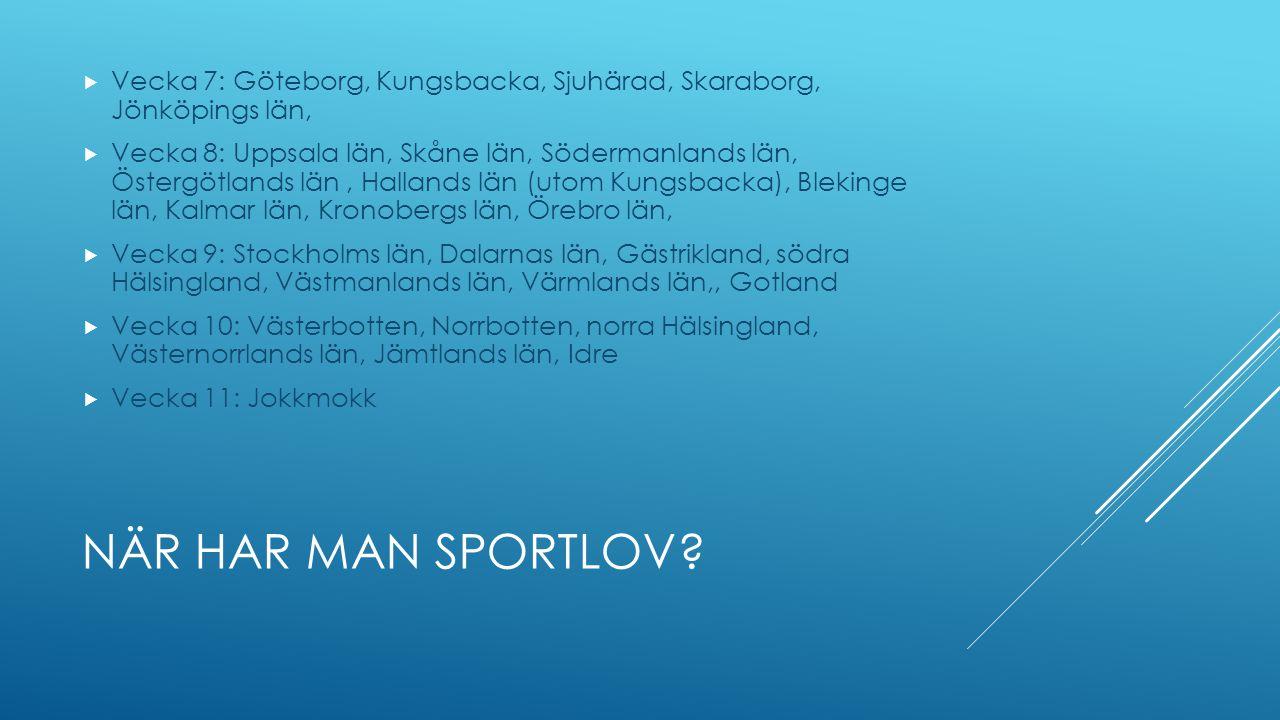 NÄR HAR MAN SPORTLOV?  Vecka 7: Göteborg, Kungsbacka, Sjuhärad, Skaraborg, Jönköpings län,  Vecka 8: Uppsala län, Skåne län, Södermanlands län, Öste