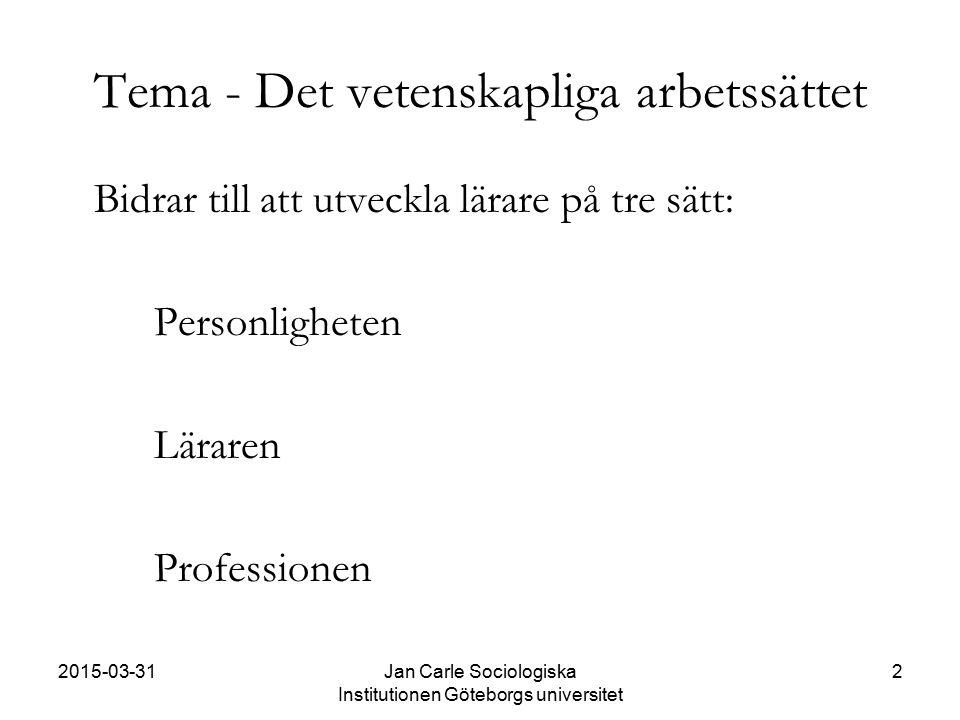 2015-03-31Jan Carle Sociologiska Institutionen Göteborgs universitet 2 Tema - Det vetenskapliga arbetssättet Bidrar till att utveckla lärare på tre sä