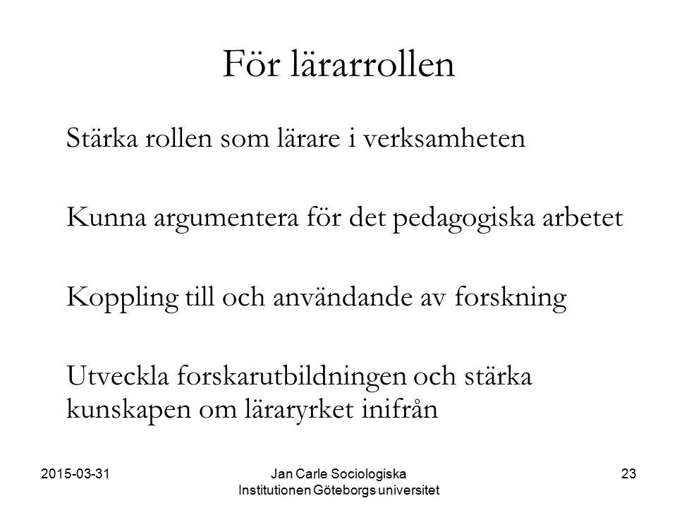 2015-03-31Jan Carle Sociologiska Institutionen Göteborgs universitet 23 För lärarrollen Stärka rollen som lärare i verksamheten Kunna argumentera för