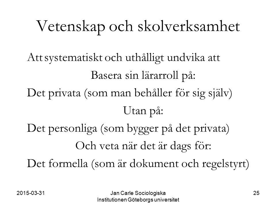 2015-03-31Jan Carle Sociologiska Institutionen Göteborgs universitet 25 Vetenskap och skolverksamhet Attsystematiskt och uthålligt undvika att Basera
