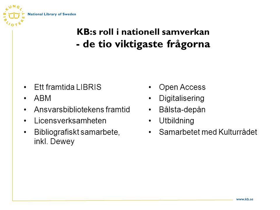 www.kb.se KB:s roll i nationell samverkan - de tio viktigaste frågorna Ett framtida LIBRIS ABM Ansvarsbibliotekens framtid Licensverksamheten Bibliografiskt samarbete, inkl.