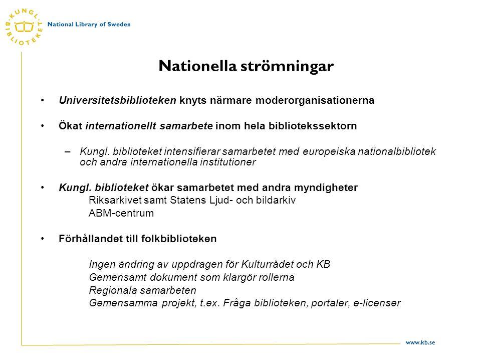 www.kb.se Nationella strömningar Universitetsbiblioteken knyts närmare moderorganisationerna Ökat internationellt samarbete inom hela bibliotekssektorn –Kungl.