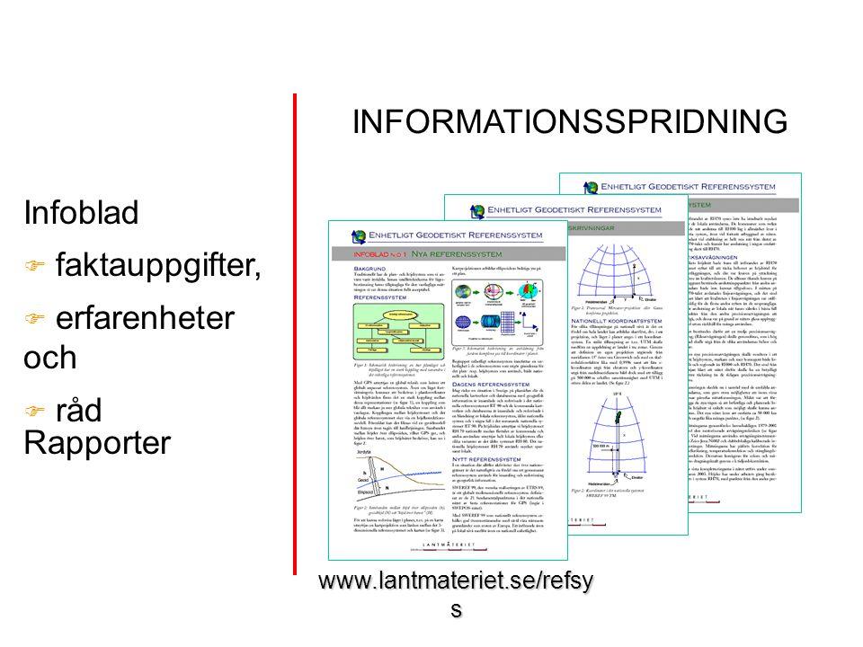 www.lantmateriet.se/refsy s Infoblad  faktauppgifter,  erfarenheter och  råd Rapporter INFORMATIONSSPRIDNING