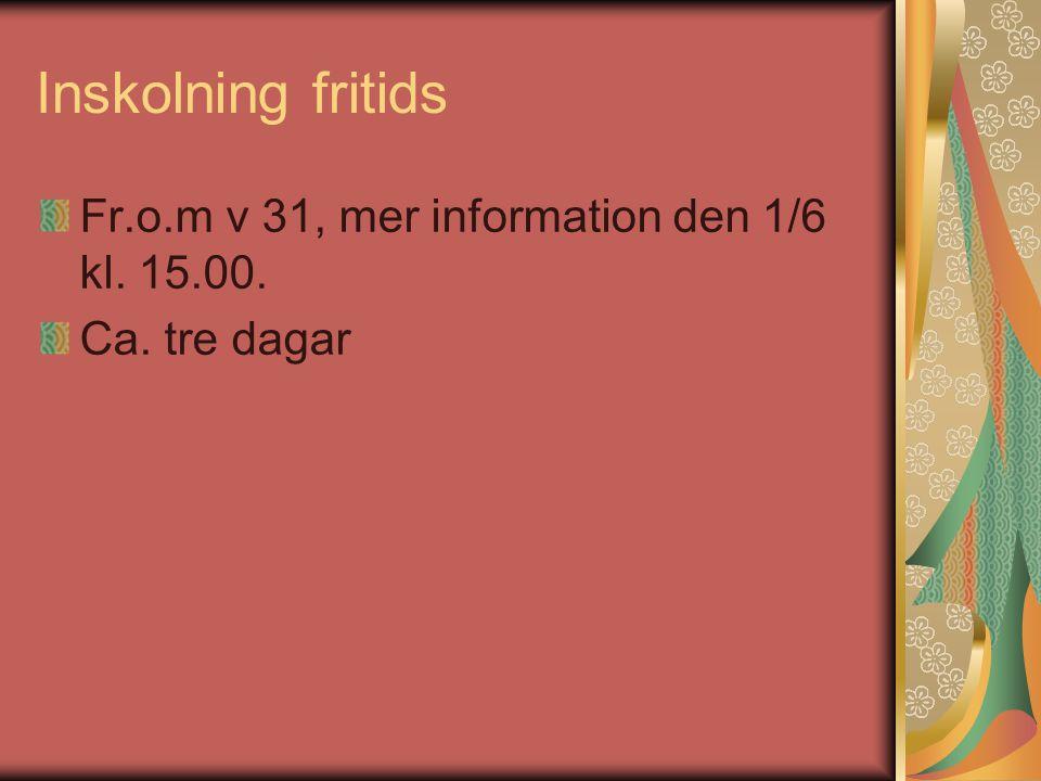 Inskolning fritids Fr.o.m v 31, mer information den 1/6 kl. 15.00. Ca. tre dagar