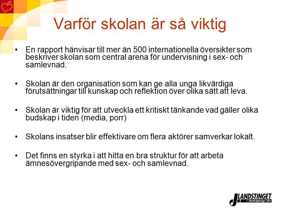 Sex- och samlevnadsundervisning En kvalitativt god sex- och samlevnadsundervisning är en förutsättning för att Sverige ska minska klamydiaepidemin, hivspridningen och de oönskade graviditeterna.