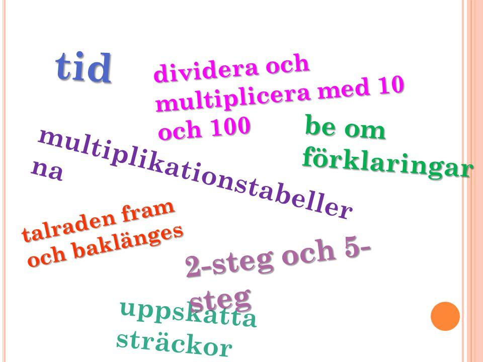 tid dividera och multiplicera med 10 och 100 be om förklaringar uppskatta sträckor multiplikationstabeller na talraden fram och baklänges 2-steg och 5