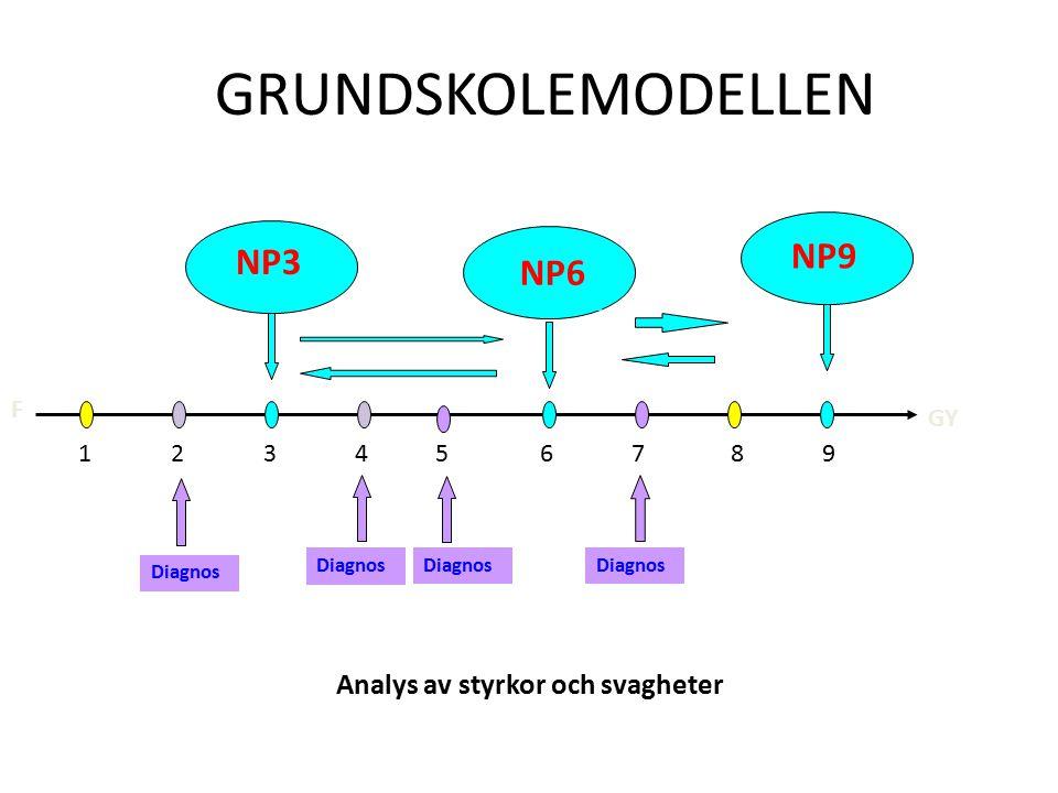 GRUNDSKOLEMODELLEN NP3 NP9 GY F Diagnos Analys av styrkor och svagheter 1 2 3 4 5 6 7 8 9 NP6 Diagnos