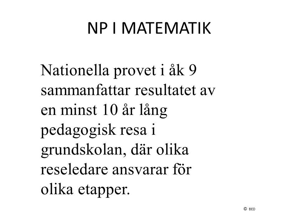 NP I MATEMATIK Nationella provet i åk 9 sammanfattar resultatet av en minst 10 år lång pedagogisk resa i grundskolan, där olika reseledare ansvarar fö