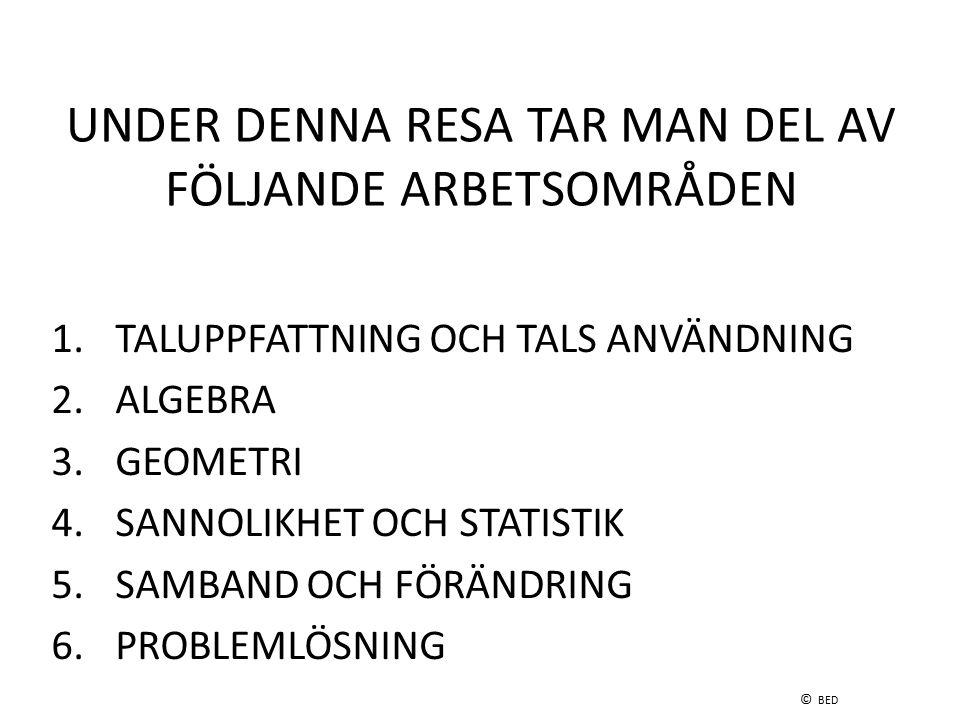 UNDER DENNA RESA TAR MAN DEL AV FÖLJANDE ARBETSOMRÅDEN 1. TALUPPFATTNING OCH TALS ANVÄNDNING 2. ALGEBRA 3. GEOMETRI 4. SANNOLIKHET OCH STATISTIK 5. SA