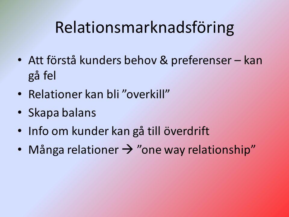 Relationsmarknadsföring Att förstå kunders behov & preferenser – kan gå fel Relationer kan bli overkill Skapa balans Info om kunder kan gå till överdrift Många relationer  one way relationship