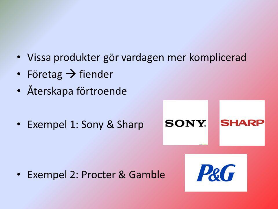 Vissa produkter gör vardagen mer komplicerad Företag  fiender Återskapa förtroende Exempel 1: Sony & Sharp Exempel 2: Procter & Gamble