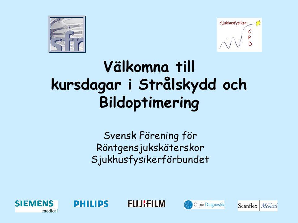 Välkomna till kursdagar i Strålskydd och Bildoptimering Svensk Förening för Röntgensjuksköterskor Sjukhusfysikerförbundet