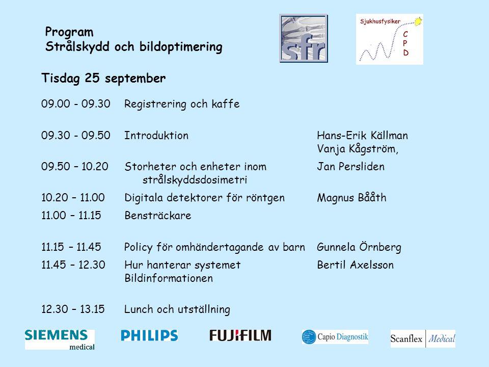 Program Strålskydd och bildoptimering Tisdag 25 september 09.00 - 09.30Registrering och kaffe 09.30 - 09.50IntroduktionHans-Erik Källman Vanja Kågström, 09.50 – 10.20Storheter och enheter inom strålskyddsdosimetri Jan Persliden 10.20 – 11.00Digitala detektorer för röntgenMagnus Bååth 11.00 – 11.15Bensträckare 11.15 – 11.45Policy för omhändertagande av barnGunnela Örnberg 11.45 – 12.30Hur hanterar systemet Bildinformationen Bertil Axelsson 12.30 – 13.15Lunch och utställning