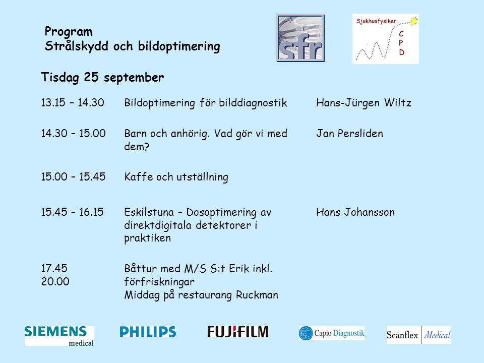 Program Strålskydd och bildoptimering Tisdag 25 september 13.15 – 14.30Bildoptimering för bilddiagnostikHans-Jürgen Wiltz 14.30 – 15.00Barn och anhöri