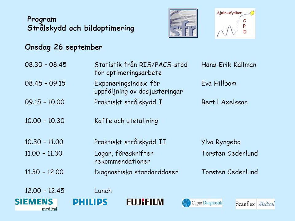 Program Strålskydd och bildoptimering Onsdag 26 september 08.30 – 08.45Statistik från RIS/PACS-stöd för optimeringsarbete Hans-Erik Källman 08.45 – 09.15Exponeringsindex för uppföljning av dosjusteringar Eva Hillbom 09.15 – 10.00Praktiskt strålskydd IBertil Axelsson 10.00 – 10.30Kaffe och utställning 10.30 – 11.00Praktiskt strålskydd IIYlva Ryngebo 11.00 – 11.30Lagar, föreskrifter rekommendationer Torsten Cederlund 11.30 – 12.00Diagnostiska standarddoserTorsten Cederlund 12.00 – 12.45Lunch
