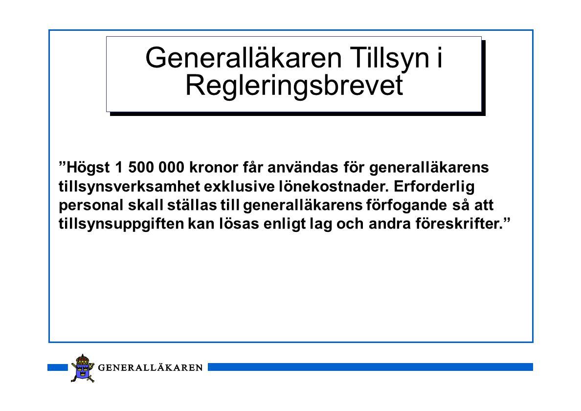 """""""Högst 1 500 000 kronor får användas för generalläkarens tillsynsverksamhet exklusive lönekostnader. Erforderlig personal skall ställas till generallä"""