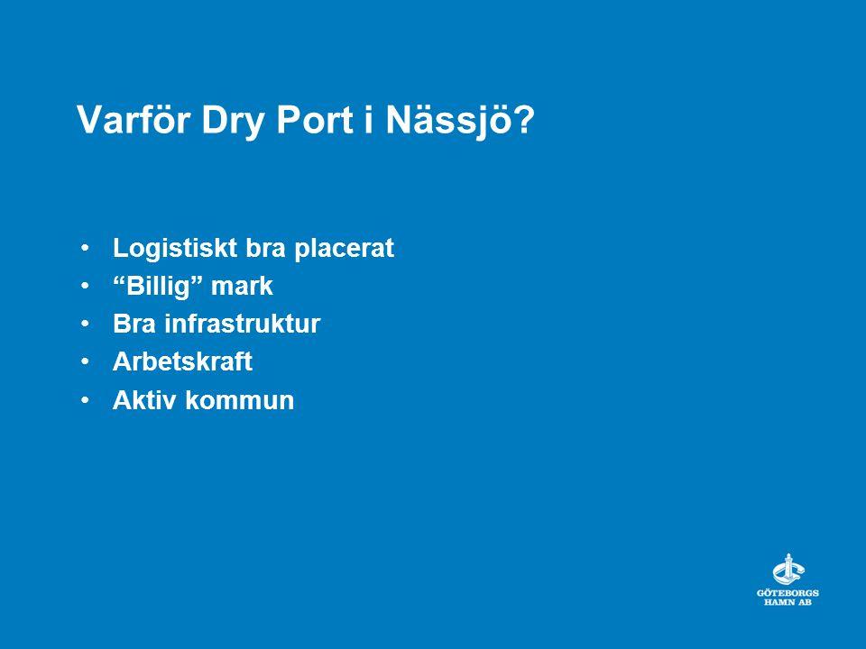 """Varför Dry Port i Nässjö? Logistiskt bra placerat """"Billig"""" mark Bra infrastruktur Arbetskraft Aktiv kommun"""