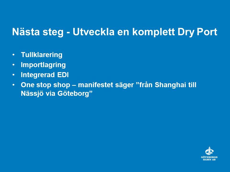 """Nästa steg - Utveckla en komplett Dry Port Tullklarering Importlagring Integrerad EDI One stop shop – manifestet säger """"från Shanghai till Nässjö via"""