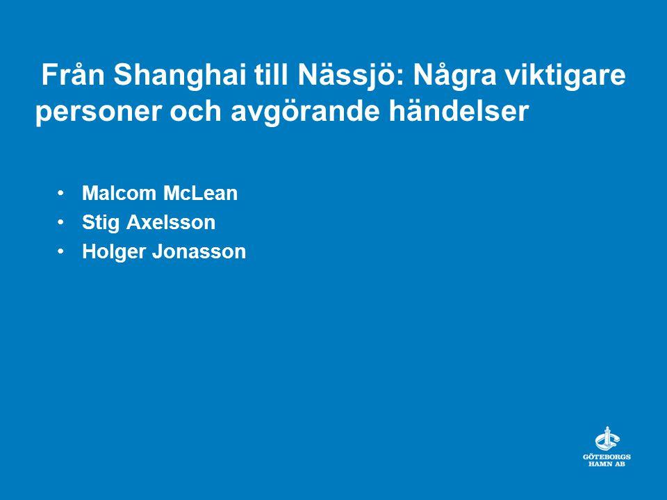Från Shanghai till Nässjö: Några viktigare personer och avgörande händelser Malcom McLean Stig Axelsson Holger Jonasson