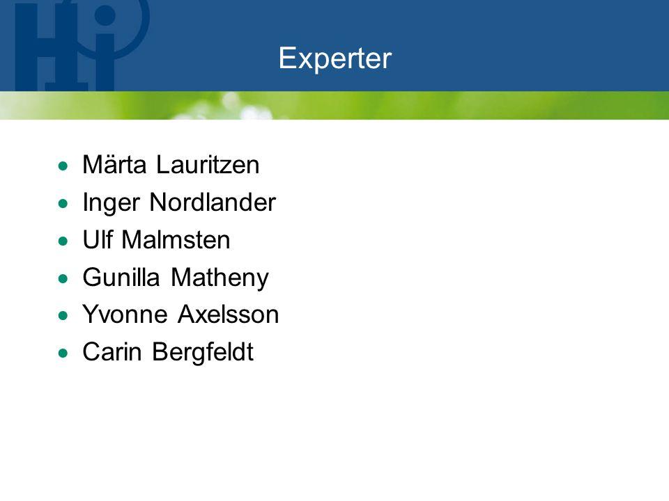Experter  Märta Lauritzen  Inger Nordlander  Ulf Malmsten  Gunilla Matheny  Yvonne Axelsson  Carin Bergfeldt