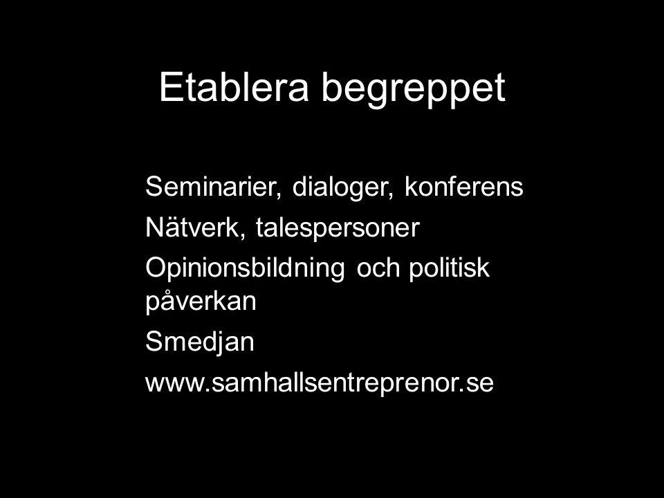 Etablera begreppet Seminarier, dialoger, konferens Nätverk, talespersoner Opinionsbildning och politisk påverkan Smedjan www.samhallsentreprenor.se