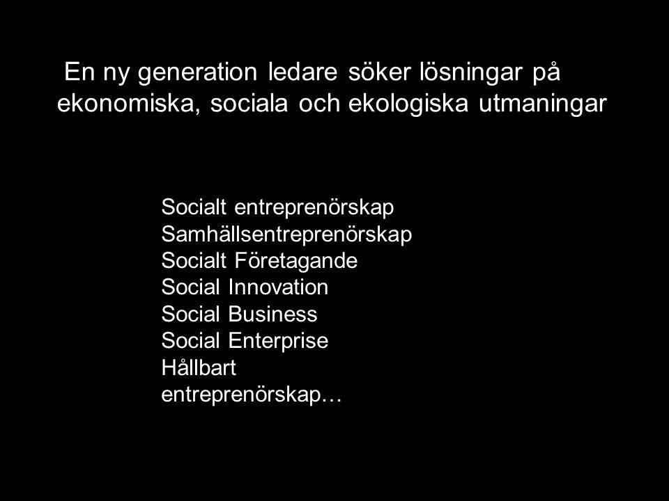 Socialt entreprenörskap Samhällsentreprenörskap Socialt Företagande Social Innovation Social Business Social Enterprise Hållbart entreprenörskap… En n