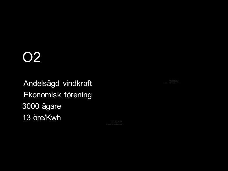 O2 Andelsägd vindkraft Ekonomisk förening 3000 ägare 13 öre/Kwh