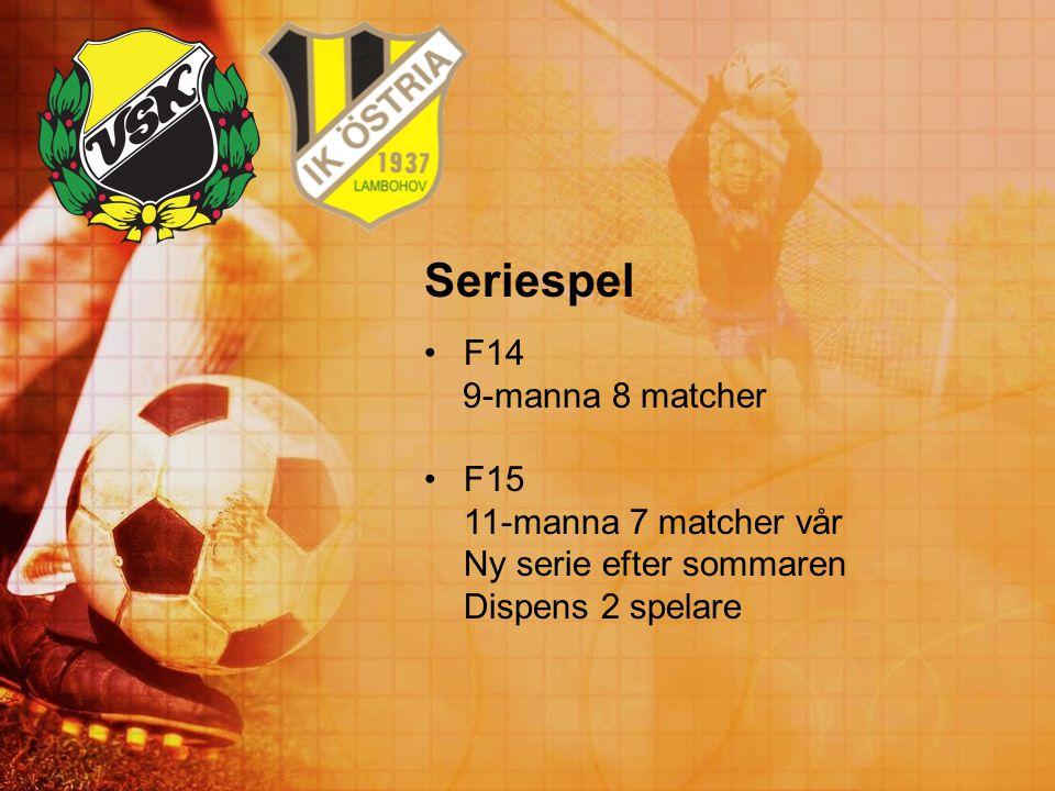 Seriespel F14 9-manna 8 matcher F15 11-manna 7 matcher vår Ny serie efter sommaren Dispens 2 spelare
