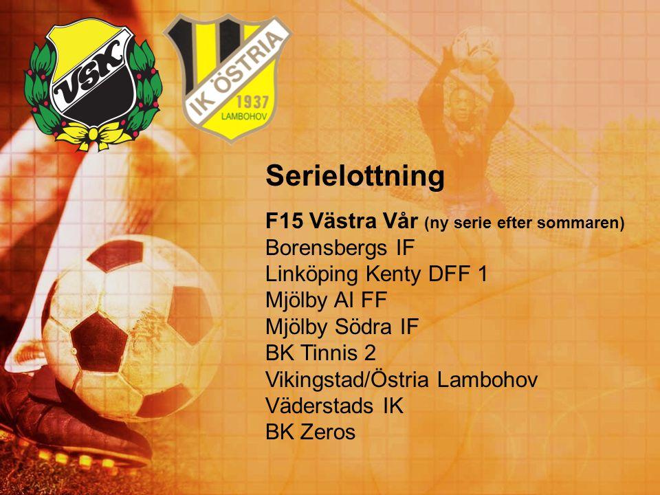 Serielottning F15 Västra Vår (ny serie efter sommaren) Borensbergs IF Linköping Kenty DFF 1 Mjölby AI FF Mjölby Södra IF BK Tinnis 2 Vikingstad/Östria