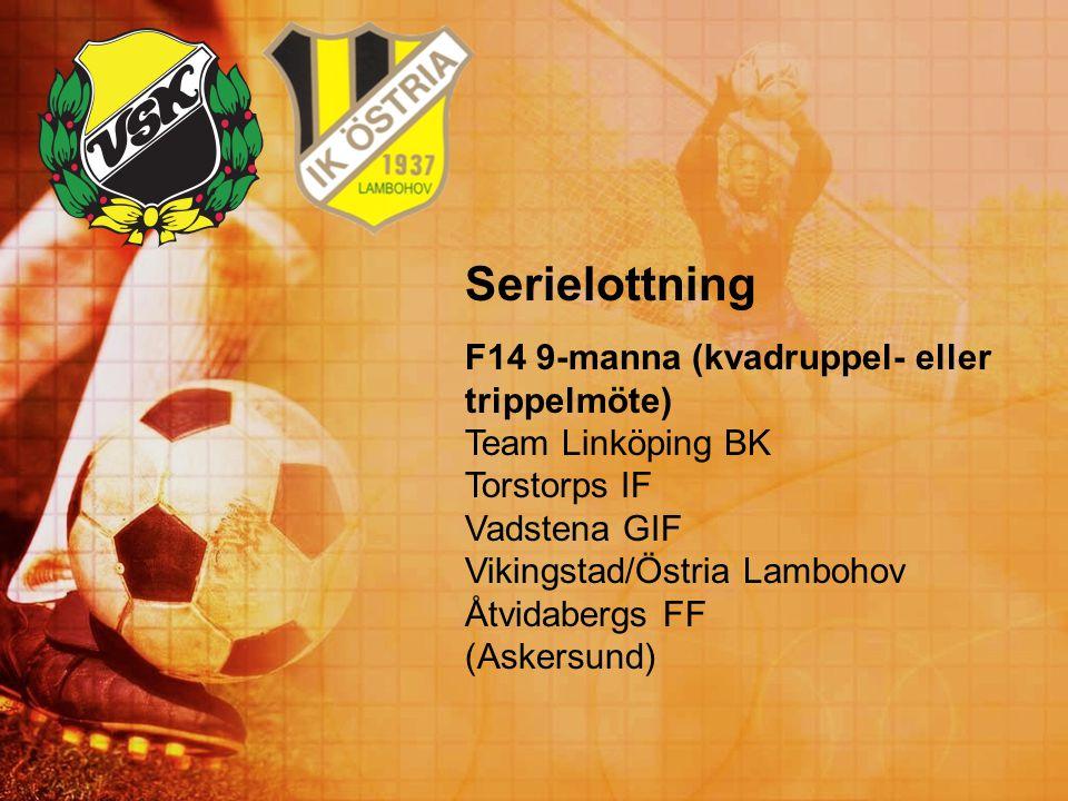 Serielottning F14 9-manna (kvadruppel- eller trippelmöte) Team Linköping BK Torstorps IF Vadstena GIF Vikingstad/Östria Lambohov Åtvidabergs FF (Asker