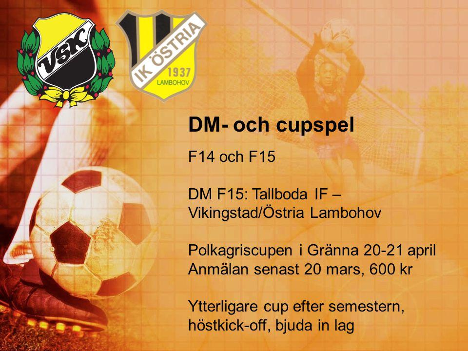 DM- och cupspel F14 och F15 DM F15: Tallboda IF – Vikingstad/Östria Lambohov Polkagriscupen i Gränna 20-21 april Anmälan senast 20 mars, 600 kr Ytterl
