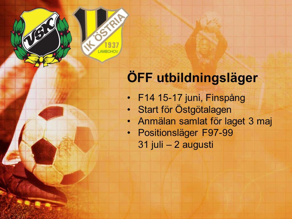 ÖFF utbildningsläger F14 15-17 juni, Finspång Start för Östgötalagen Anmälan samlat för laget 3 maj Positionsläger F97-99 31 juli – 2 augusti