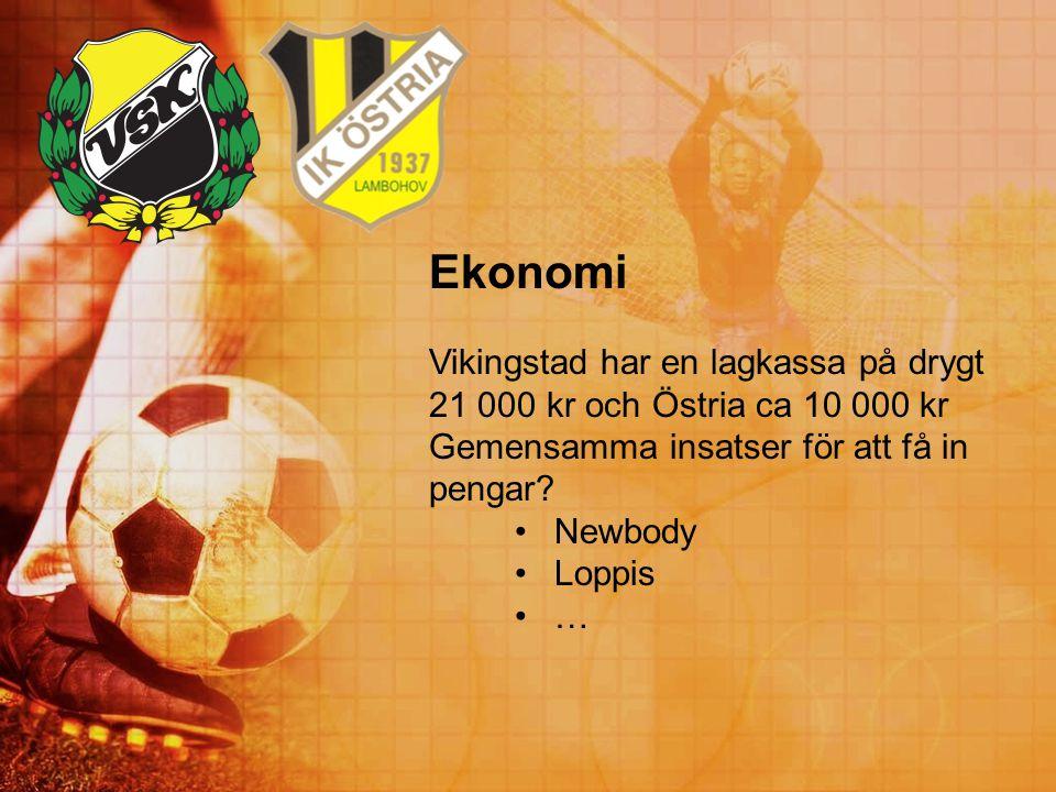 Ekonomi Vikingstad har en lagkassa på drygt 21 000 kr och Östria ca 10 000 kr Gemensamma insatser för att få in pengar? Newbody Loppis …