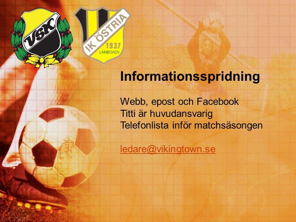 Informationsspridning Webb, epost och Facebook Titti är huvudansvarig Telefonlista inför matchsäsongen ledare@vikingtown.se