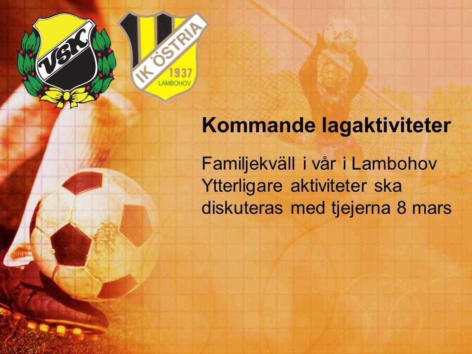 Kommande lagaktiviteter Familjekväll i vår i Lambohov Ytterligare aktiviteter ska diskuteras med tjejerna 8 mars