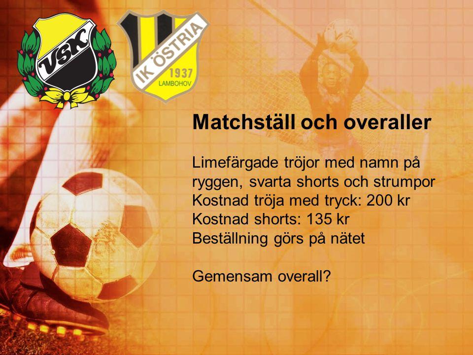 Matchställ och overaller Limefärgade tröjor med namn på ryggen, svarta shorts och strumpor Kostnad tröja med tryck: 200 kr Kostnad shorts: 135 kr Best
