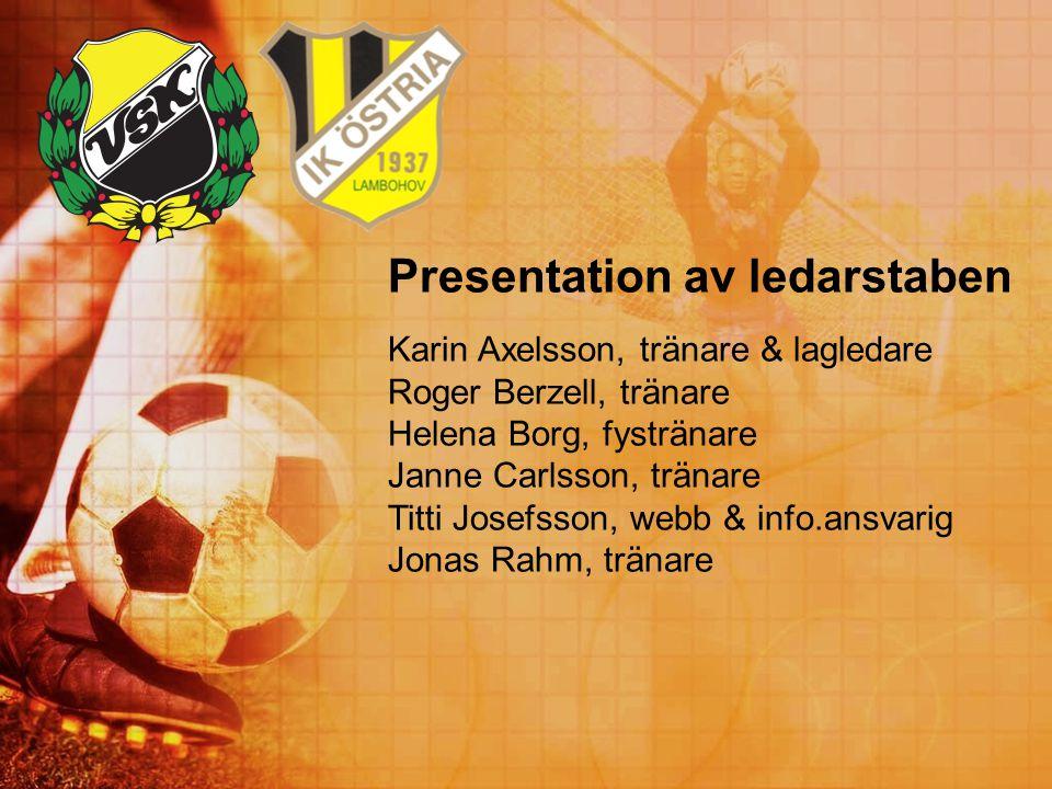 Presentation av ledarstaben Karin Axelsson, tränare & lagledare Roger Berzell, tränare Helena Borg, fystränare Janne Carlsson, tränare Titti Josefsson