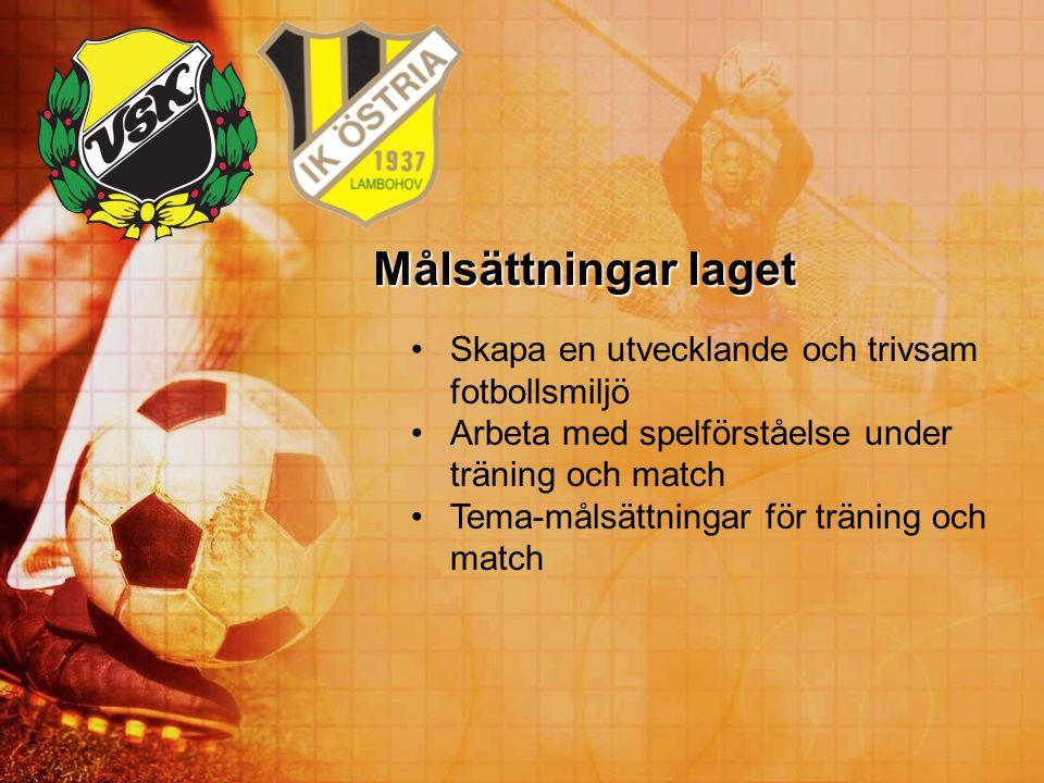 Målsättningar laget Skapa en utvecklande och trivsam fotbollsmiljö Arbeta med spelförståelse under träning och match Tema-målsättningar för träning oc