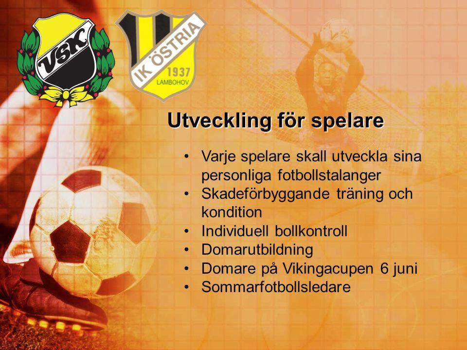 Utveckling för spelare Varje spelare skall utveckla sina personliga fotbollstalanger Skadeförbyggande träning och kondition Individuell bollkontroll D