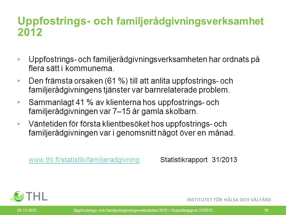 29.11.2013Uppfostrings- och familjerådgivningsverksamhet 2012 / Statistikrapport 31/201310 Uppfostrings- och familjerådgivningsverksamhet 2012 Uppfostrings- och familjerådgivningsverksamheten har ordnats på flera sätt i kommunerna.