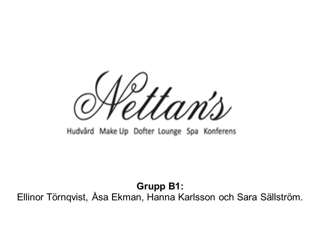 Grupp B1: Ellinor Törnqvist, Åsa Ekman, Hanna Karlsson och Sara Sällström.