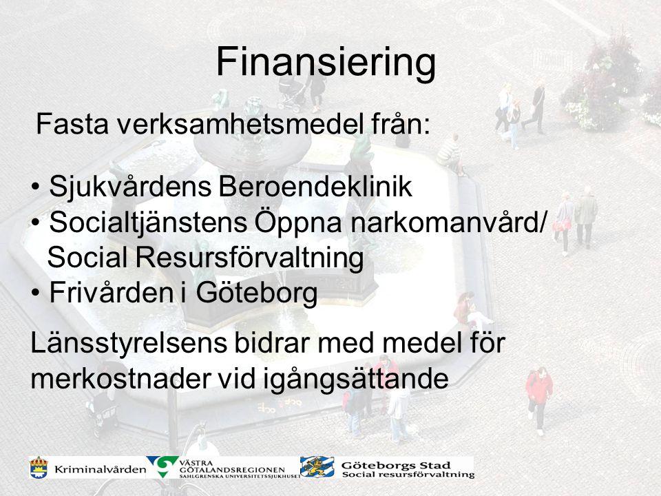 Finansiering Fasta verksamhetsmedel från: Sjukvårdens Beroendeklinik Socialtjänstens Öppna narkomanvård/ Social Resursförvaltning Frivården i Göteborg
