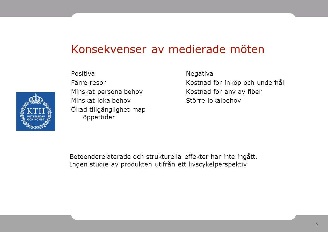 6 Konsekvenser av medierade möten Positiva Färre resor Minskat personalbehov Minskat lokalbehov Ökad tillgänglighet map öppettider Negativa Kostnad för inköp och underhåll Kostnad för anv av fiber Större lokalbehov Beteenderelaterade och strukturella effekter har inte ingått.