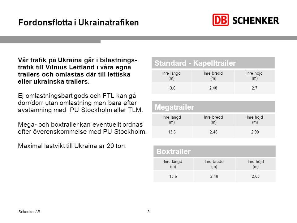 Fordonsflotta i Ukrainatrafiken Vår trafik på Ukraina går i bilastnings- trafik till Vilnius Lettland i våra egna trailers och omlastas där till letti