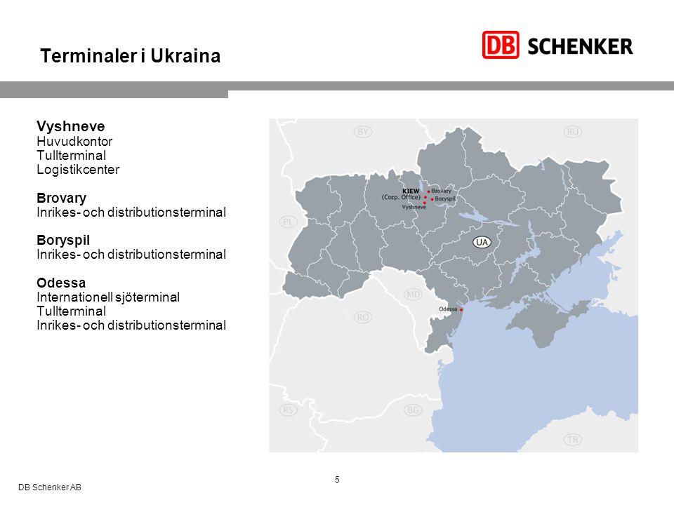 Därför väljer du DB Schenker på Ukraina 6Schenker AB  Lång erfarenhet på Ukraina  Stort nätverk och egna terminaler  Egen inrikes distribution  Egen tullavdelning  Rysktalande personal i Sverige  Erbjuder alla logistiktjänster och lagerlogistik  Styckegodstrafik till/från Kiev