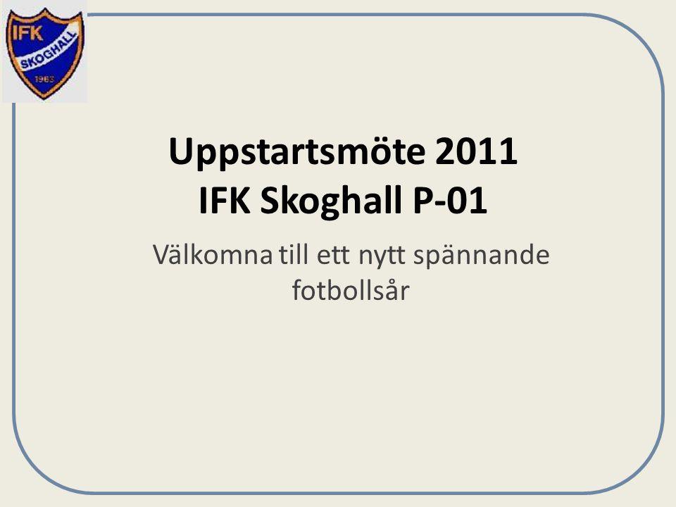 Uppstartsmöte 2011 IFK Skoghall P-01 Välkomna till ett nytt spännande fotbollsår